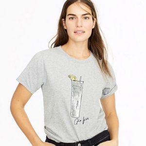 "J. Crew ""Gin Fizz"" Sequin Gray Graphic T-Shirt"